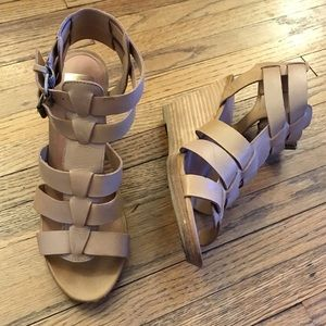 Dolce Vita | Wedge Buckle Sandals Nude Sz8